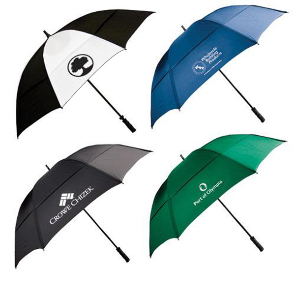 "Promotional 62"" wind resistant golf umbrella with fiberglass shaft"