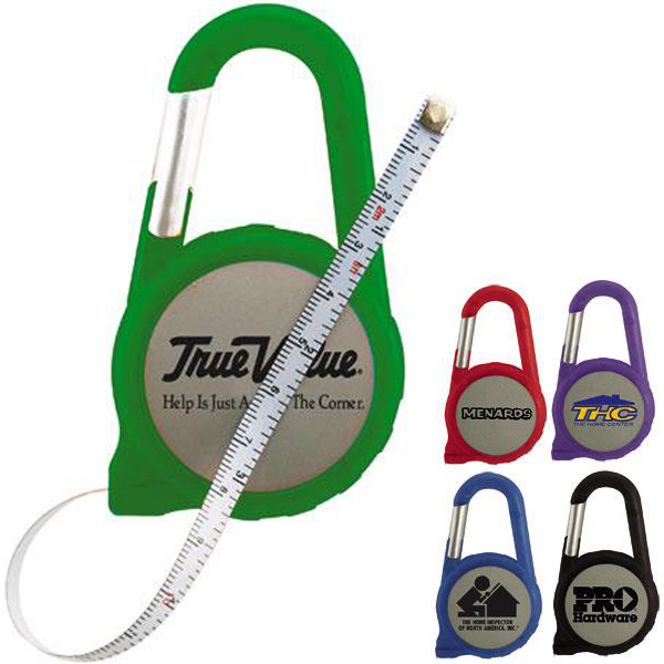 Imprinted 6 foot carabiner tape measure