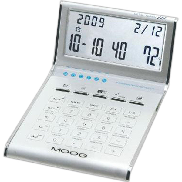 Promotional Aluminum slim line calculator/clock with date,  temperature