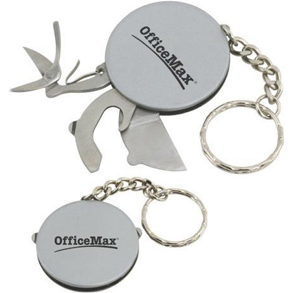 Custom Stainless steel multi-tool disk with keychain