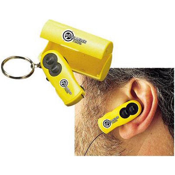 Imprinted FM scanner ear radio/keychain