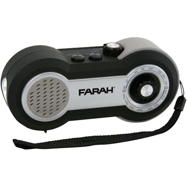 Custom Dynamo-powered splashproof AM/FM radio with LED flashlight