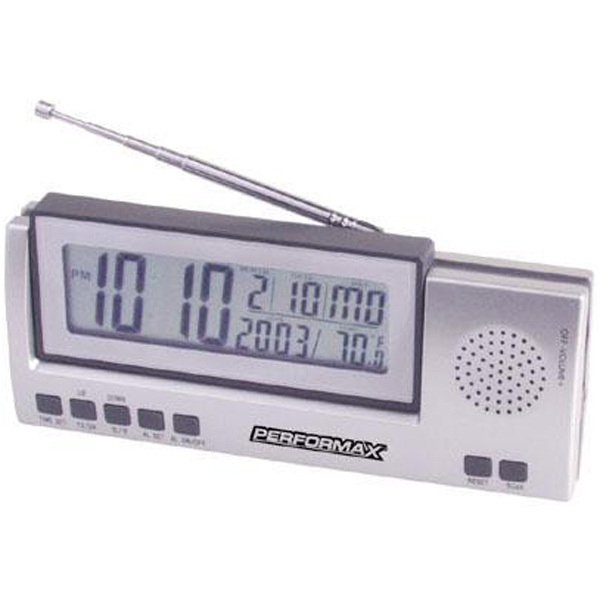 Printed Jumbo LCD radio with clock, day, date and temperature