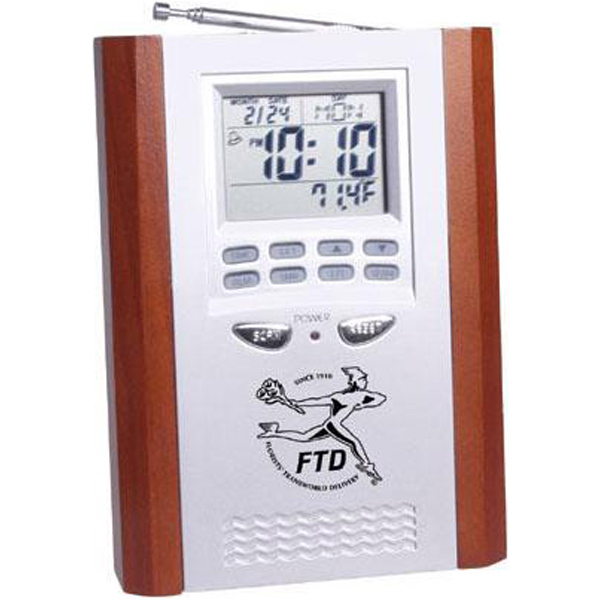 Printed Executive FM scan radio alarm clock with thermometer