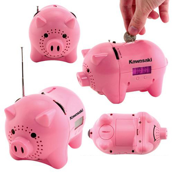 "Promotional AM/FM clock radio piggy bank with ""oink"" sound"
