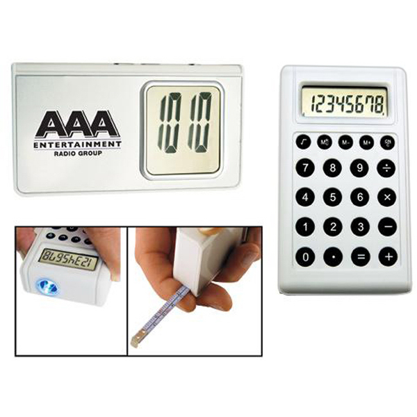 Custom 5-in-1 calculator alarm clock with light and tape measure