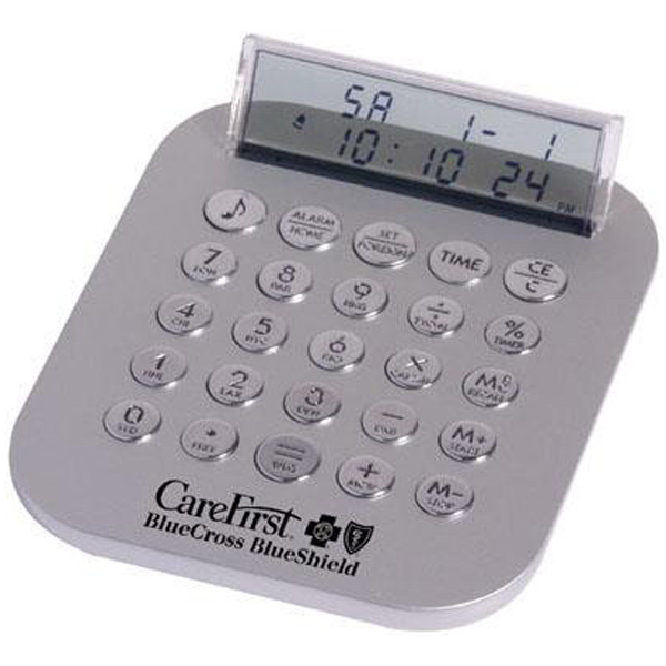 Imprinted Metallic calculator travel clock