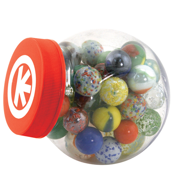 Imprinted Glass marbles game set with storage canister