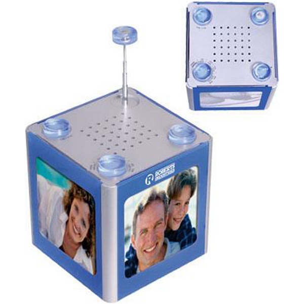 Imprinted AM/FM radio photo cube