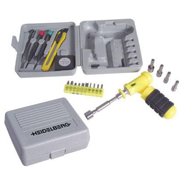 Promotional 24-piece tool set with plastic storage case
