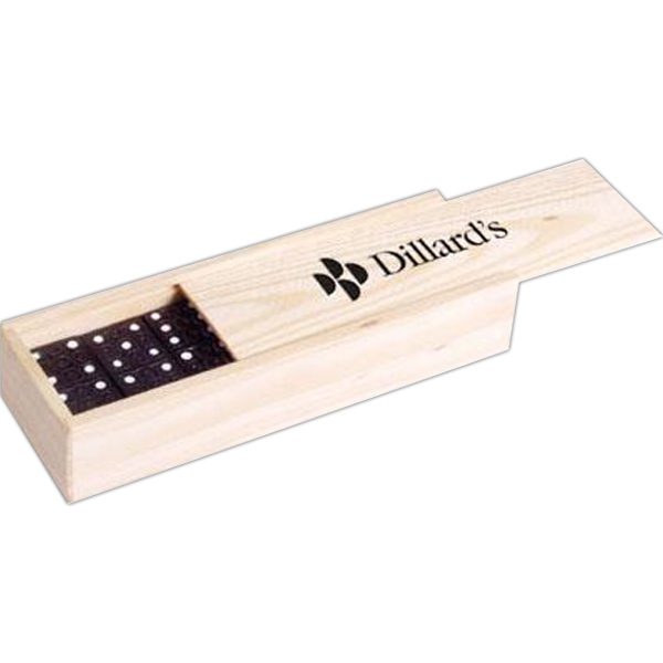 Printed Dominoes in wood box