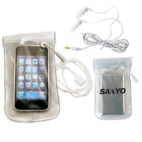 Customized MP3 waterproof case with water-resistant earbuds