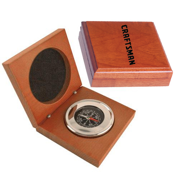 Customized Executive compass in wood box