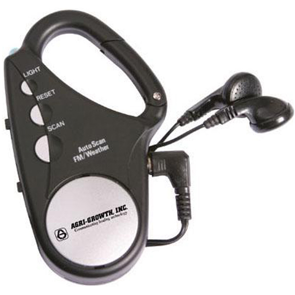 Printed FM/Weatherband carabiner scan radio with flashlight