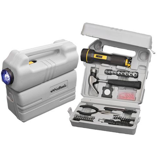 Custom 126-piece tool set with LED flashlight and carrying case