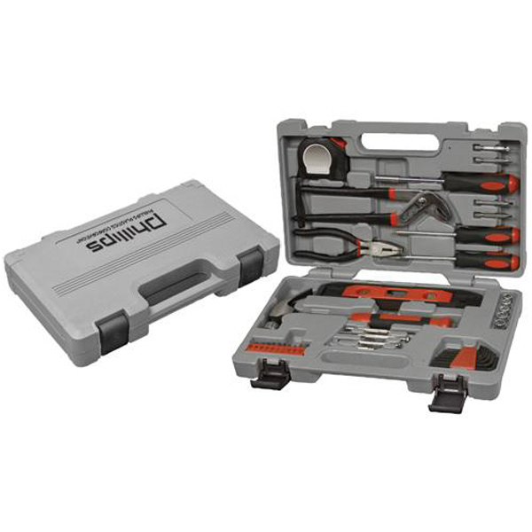 Printed 40-piece tool set with compact carrying case