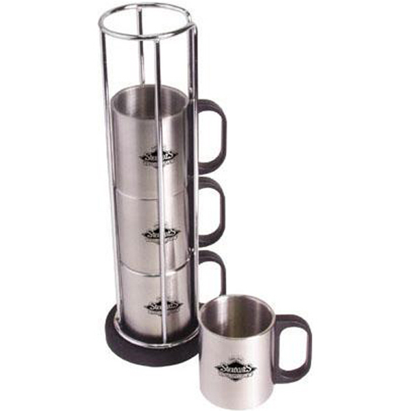 Printed 5-piece stainless steel mug set