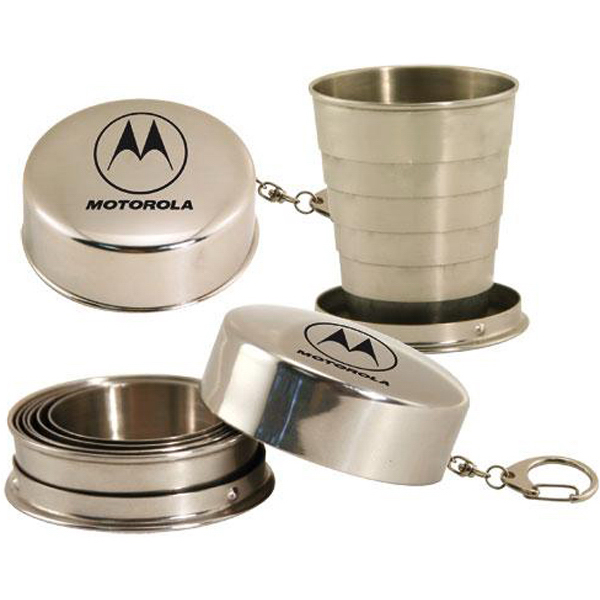 Printed Stainless steel collapsible 2 oz cup with keyring