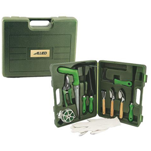 Imprinted 11-piece gardening set with case