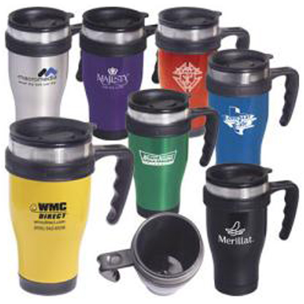 "Personalized Stainless steel ""Large-Grip"" mug with closure top"