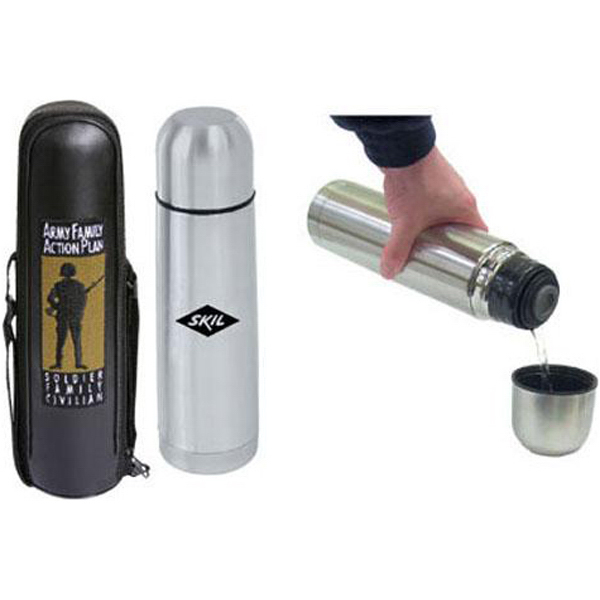Promotional 17 oz. (.50 liter) stainless steel vacuum-insulated bottle