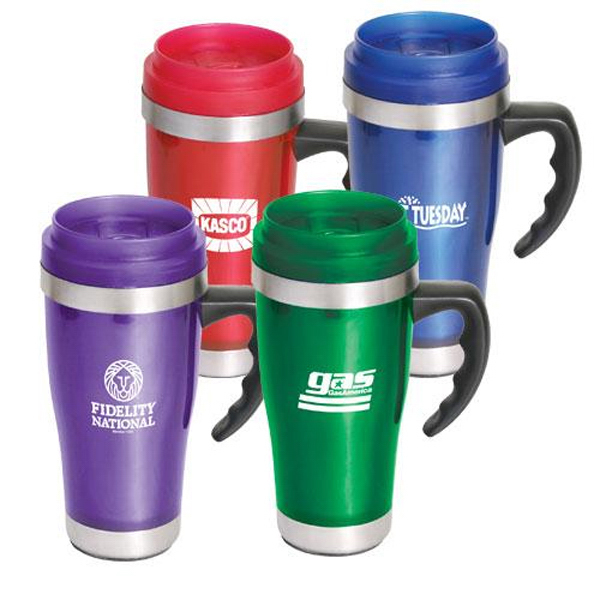 Custom 16 oz contoured-grip travel mug with closure top