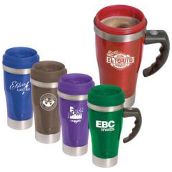 "Imprinted 14 oz acrylic/stainless steel ""Stir"" travel mug"