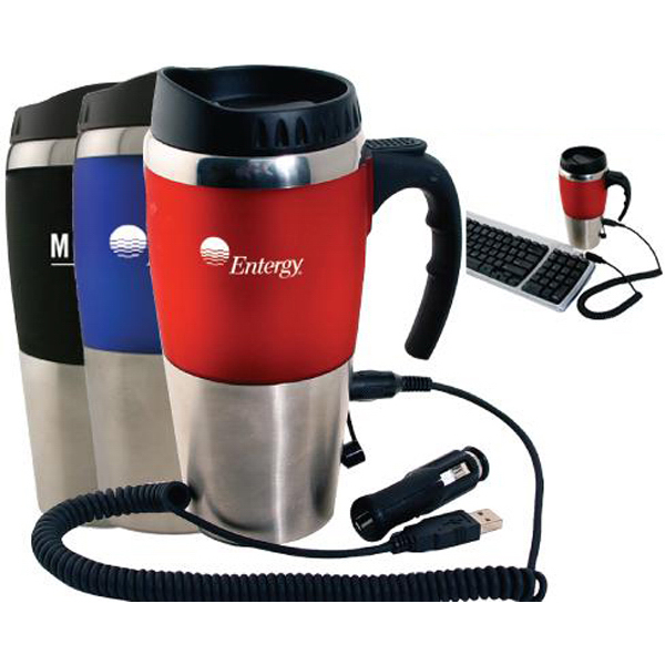 Customized 16 oz dual auto/USB heater mug with closure top