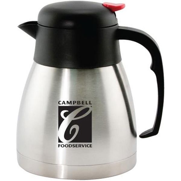 Imprinted 34 oz (1 liter) stainless steel vacuum carafe