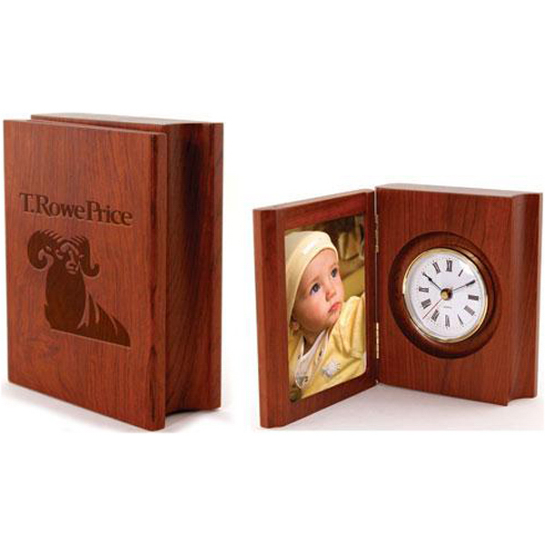 "Promotional 3 1/4"" x 4 1/4"" solid rosewood folding photo frame clock"