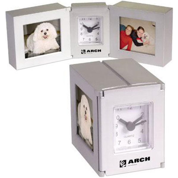 Customized Folding cube clock with dual photo frames