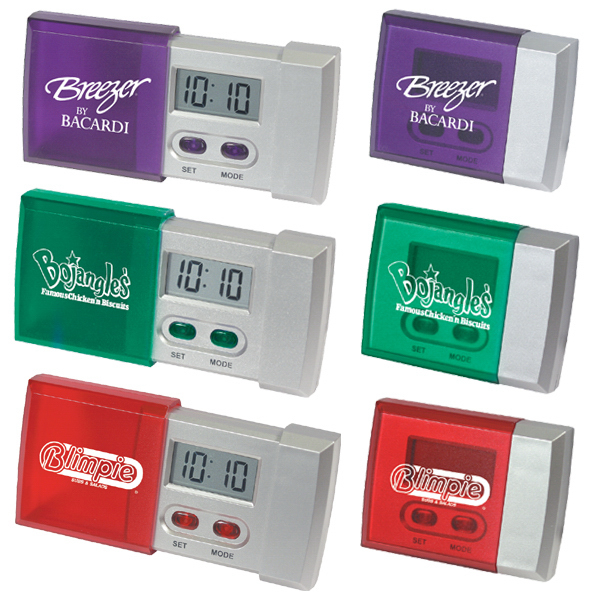 Custom Sliding pocket travel alarm clock