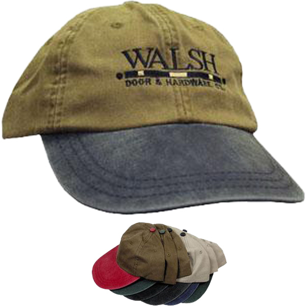 Printed 6-panel 2-tone, unstructured garment dyed cap