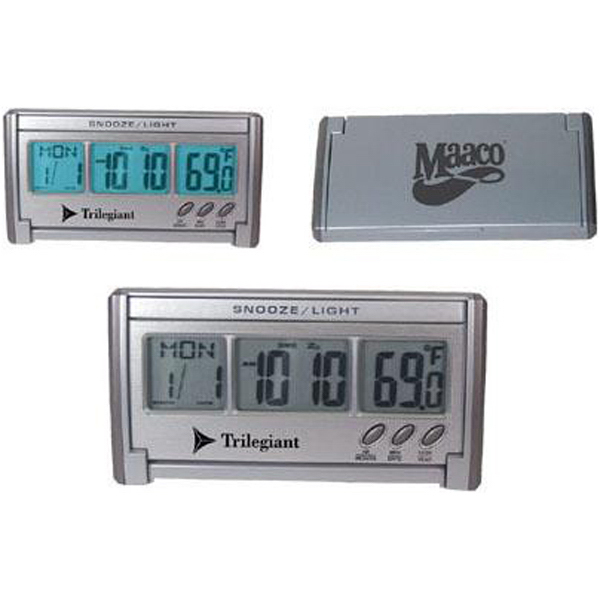 Imprinted Jumbo LCD EL-backlit travel alarm clock