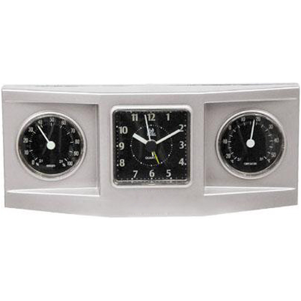 Imprinted 3-dial weather station alarm clock