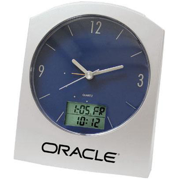 Imprinted Dual-time digital/analog desk clock