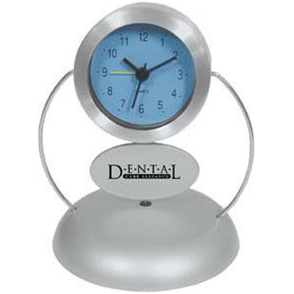 Customized Rotating ad aluminum desk clock with alarm