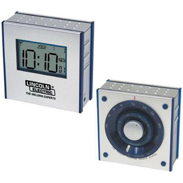 Promotional Dual-panel FM clock radio with large LCD screen