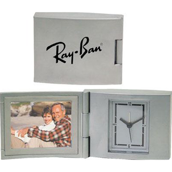 "Printed Die-cast aluminum 2"" x 1 1/2"" photo frame alarm clock"