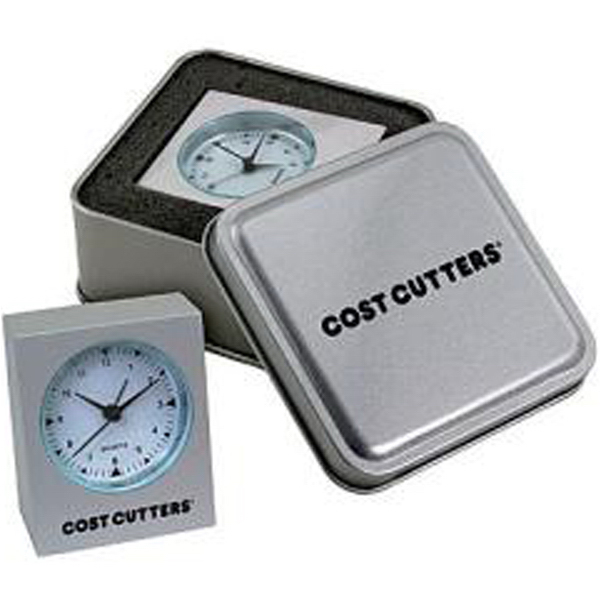 Personalized Cast aluminum mini desk alarm clock