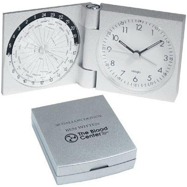 Personalized Aluminum world travel alarm clock