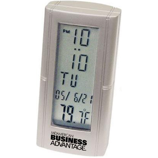 Customized Die-cast metal desk alarm clock with thermometer