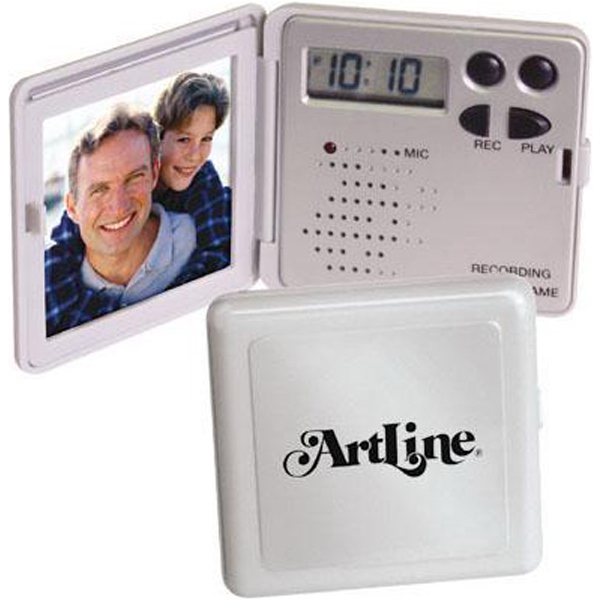 Imprinted Mini recording/talking photo frame with clock