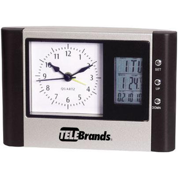 Imprinted Desk clock with analog and digital display and thermometer