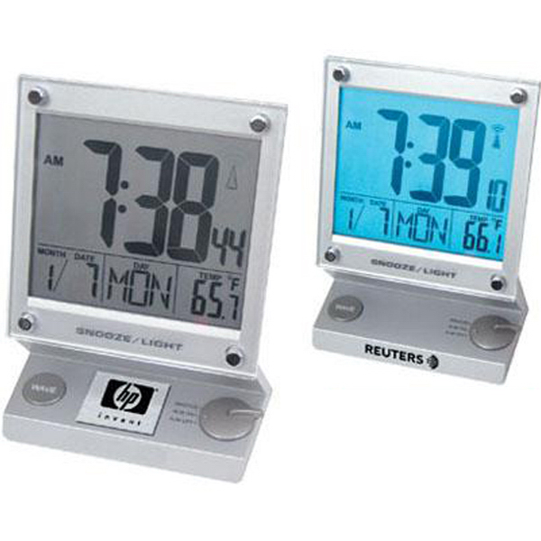 Imprinted Touch-screen jumbo LCD radio-controlled alarm clock