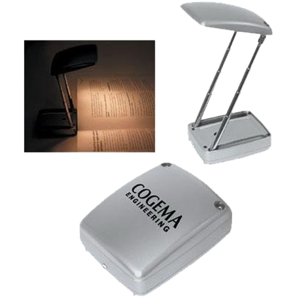 Printed Silver collapsible reading light with flashlight