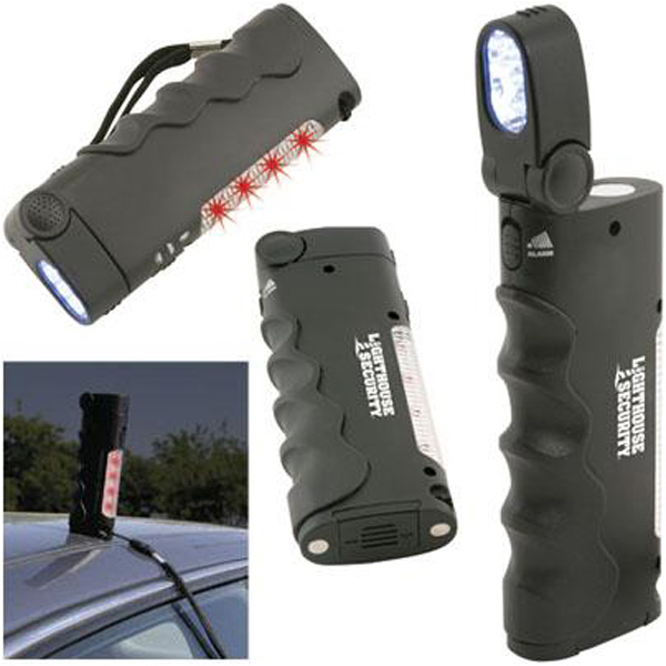 Imprinted 5-in-1 flashlight/alarm with emergency flasher