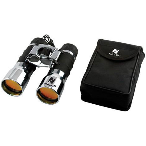 Imprinted 16x32 chrome plated binoculars with ruby lenses and case