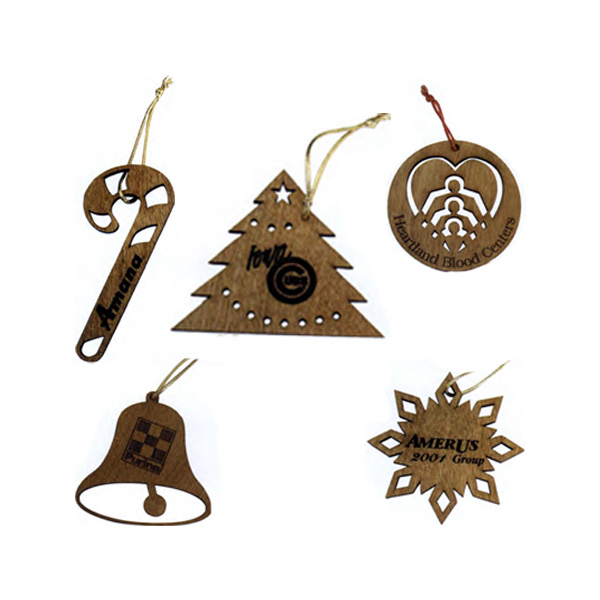 Promotional Custom laser-cut wood ornaments