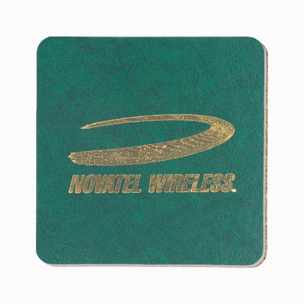 Imprinted Leatherette Coaster - square